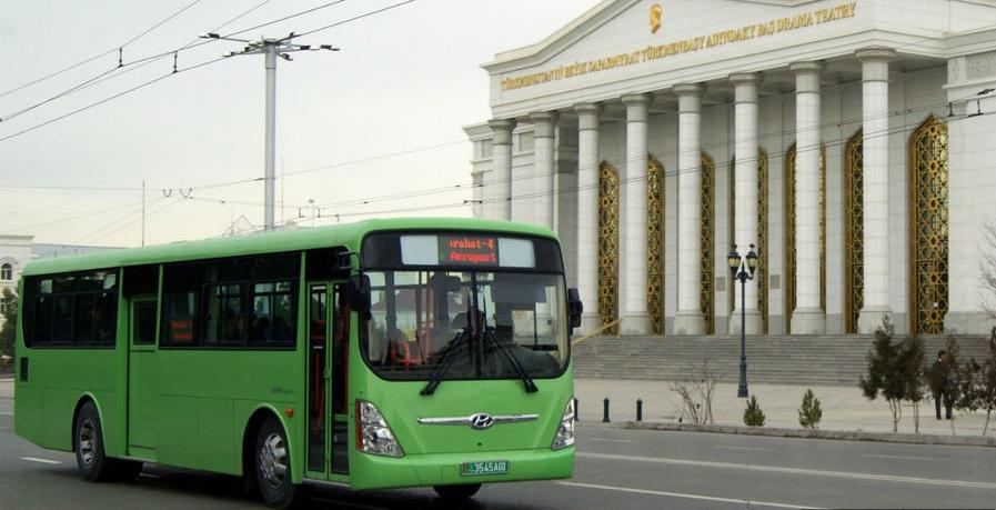 Автобус, общественный транспорт, Ашхабад, Туркменистан